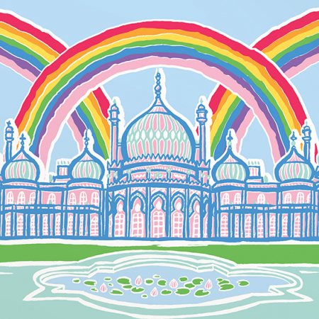 Malarkey Cards Brighton sell funky quirky unusual modern cool original classic wacky contemporary art illustration photographic distinctive vintage retro funny rude humorous birthday Brighton and Hove J David Bennett JDB-17-RB-06 royal pavilion rainbow