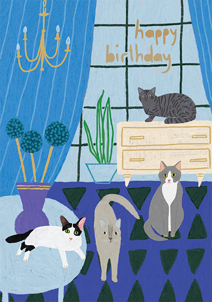 Malarkey Cards Brighton sell funky quirky unusual modern cool original classic wacky contemporary art illustration photographic distinctive vintage retro funny rude humorous birthday Roger la borde Glass Menagerie Anne Bentley GCN346 cats