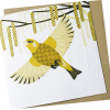 Malarkey Cards Brighton sell funky quirky unusual modern cool original classic wacky contemporary art illustration photographic distinctive vintage retro funny rude humorous birthday greetings cards debossed embossed Lino King Cards Ashleaf printmaking LBE601 greenfinch bird