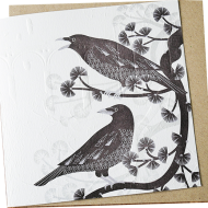 Malarkey Cards Brighton sell funky quirky unusual modern cool original classic wacky contemporary art illustration photographic distinctive vintage retro funny rude humorous birthday greetings cards debossed embossed Lino King Cards Ashleaf printmaking crows bird LBE605