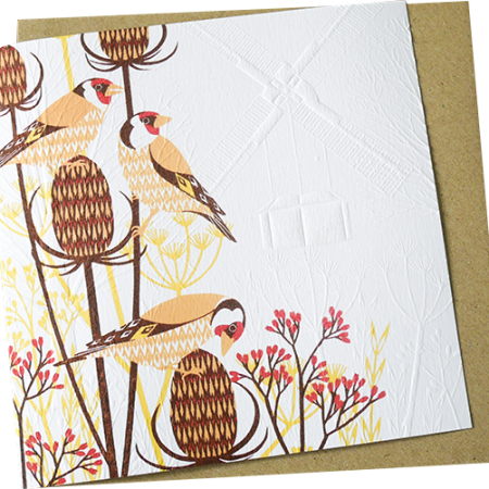 Malarkey Cards Brighton sell funky quirky unusual modern cool original classic wacky contemporary art illustration photographic distinctive vintage retro funny rude humorous birthday greetings cards debossed embossed Lino King Cards Ashleaf printmaking goldfinches bird LBE606