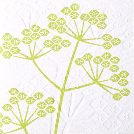 Malarkey Cards Brighton sell funky quirky unusual modern cool original classic wacky contemporary art illustration photographic distinctive vintage retro funny rude humorous birthday greetings cards debossed embossed Lino King Cards Ashleaf printmaking cow parsley flower plant LNC703
