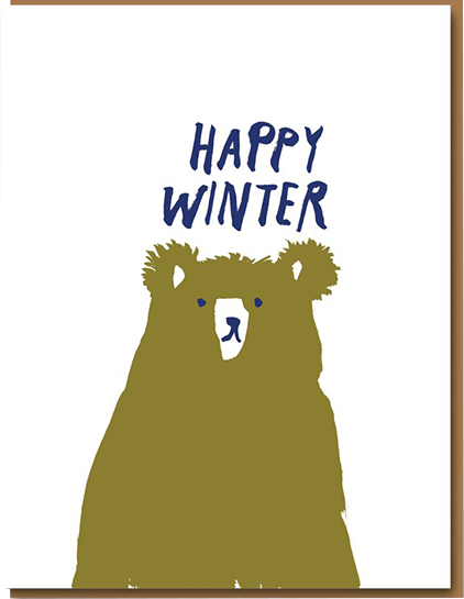 Malarkey Cards Brighton sell funky quirky unusual modern cool original classic wacky contemporary art illustration photographic distinctive vintage retro funny rude humorous birthday Christmas xmas seasonal greetings cards eggpress 1973 EP0029 happy winter bear