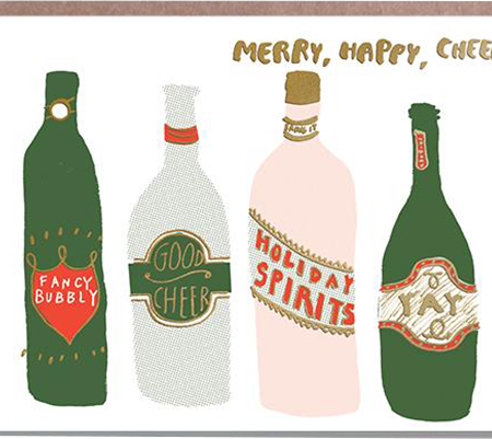 Malarkey Cards Brighton sell funky quirky unusual modern cool original classic wacky contemporary art illustration photographic distinctive vintage retro funny rude humorous birthday Christmas xmas seasonal greetings cards eggpress 1973 EP0459 merry happy cheer wine alcohol