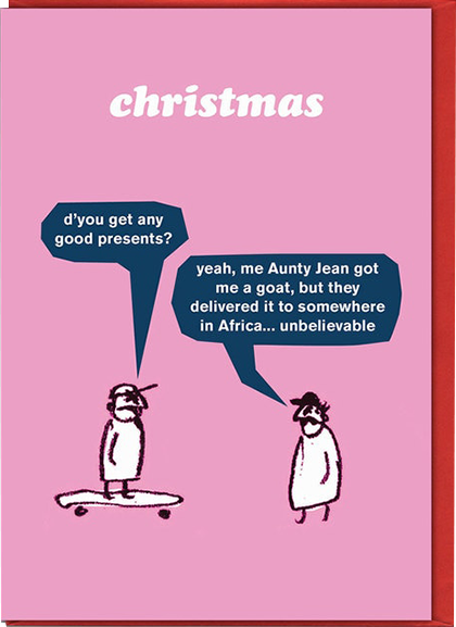 Malarkey Cards Brighton sell funky quirky unusual modern cool original classic wacky contemporary art illustration photographic distinctive vintage retro funny rude humorous birthday Christmas xmas seasonal greetings cards modern toss XMT05 goat present