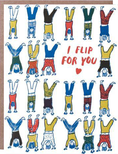 Malarkey Cards Brighton sell funky quirky kitsch unusual modern cool original classic wacky contemporary art illustration photographic distinctive vintage retro funny rude humorous birthday seasonal greetings cards valentines day love heart 1973 i flip for you