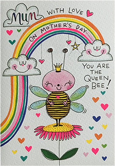 Malarkey Cards Brighton sell funky quirky kitsch unusual modern cool original classic wacky contemporary art illustration photographic distinctive vintage retro funny rude cute humorous birthday seasonal greetings cards mothers day mum the art file floral Rachel Ellen queen bee
