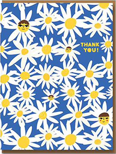Malarkey Cards Brighton sell funky quirky kitsch unusual modern cool original classic wacky contemporary art illustration photographic distinctive vintage retro funny rude cute humorous birthday seasonal greetings cards 1973 Carolyn Suzuki daisy thank you flowers