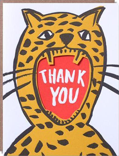 Malarkey Cards Brighton sell funky quirky kitsch unusual modern cool original classic wacky contemporary art illustration photographic distinctive vintage retro funny rude cute humorous birthday seasonal greetings cards 1973 nineteenseventythree egg press thank you roar tiger cheetah lion leopard