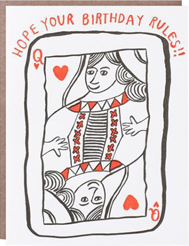 Malarkey Cards Brighton sell funky quirky kitsch unusual modern cool original classic wacky contemporary art illustration photographic distinctive vintage retro funny rude cute humorous birthday seasonal greetings cards 1973 nineteenseventythree egg press hope your birthday rules queen of hearts