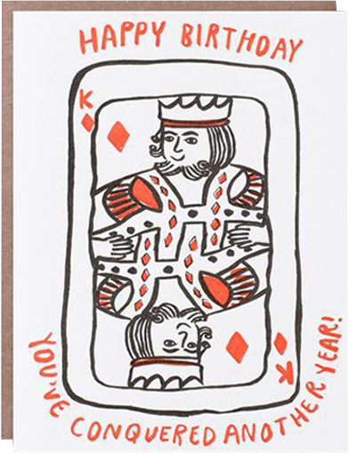 Malarkey Cards Brighton sell funky quirky kitsch unusual modern cool original classic wacky contemporary art illustration photographic distinctive vintage retro funny rude cute humorous birthday seasonal greetings cards 1973 nineteenseventythree egg press king of diamonds you've conquered another year