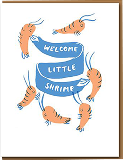 Malarkey Cards Brighton sell funky quirky kitsch unusual modern cool original classic wacky contemporary art illustration photographic distinctive vintage retro funny rude cute humorous birthday seasonal greetings cards 1973 nineteenseventythree egg press welcome little shrimp new baby