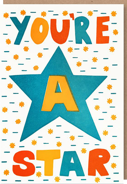 Malarkey Cards Brighton sell funky quirky kitsch unusual modern cool original classic wacky contemporary art illustration photographic distinctive vintage retro funny rude cute humorous birthday seasonal greetings cards prints frames socks bench sukie 1973 nineteenseventythree youre a star