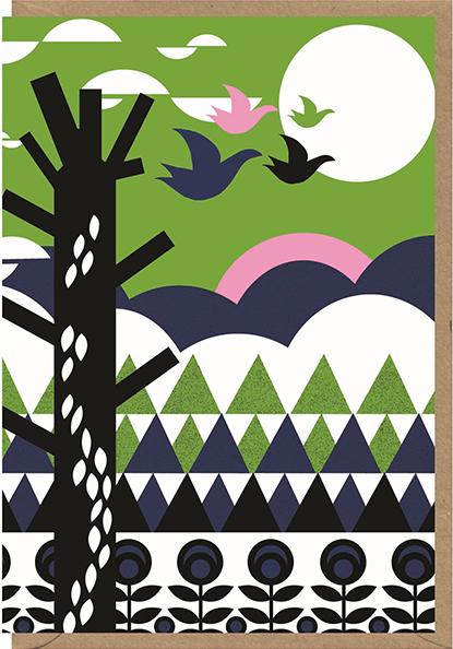 Malarkey Cards Brighton sell funky quirky unusual modern cool original classic wacky contemporary art illustration photographic distinctive vintage retro funny rude humorous birthday seasonal greetings cards early bird designs Nadia Taylor geometric landscape